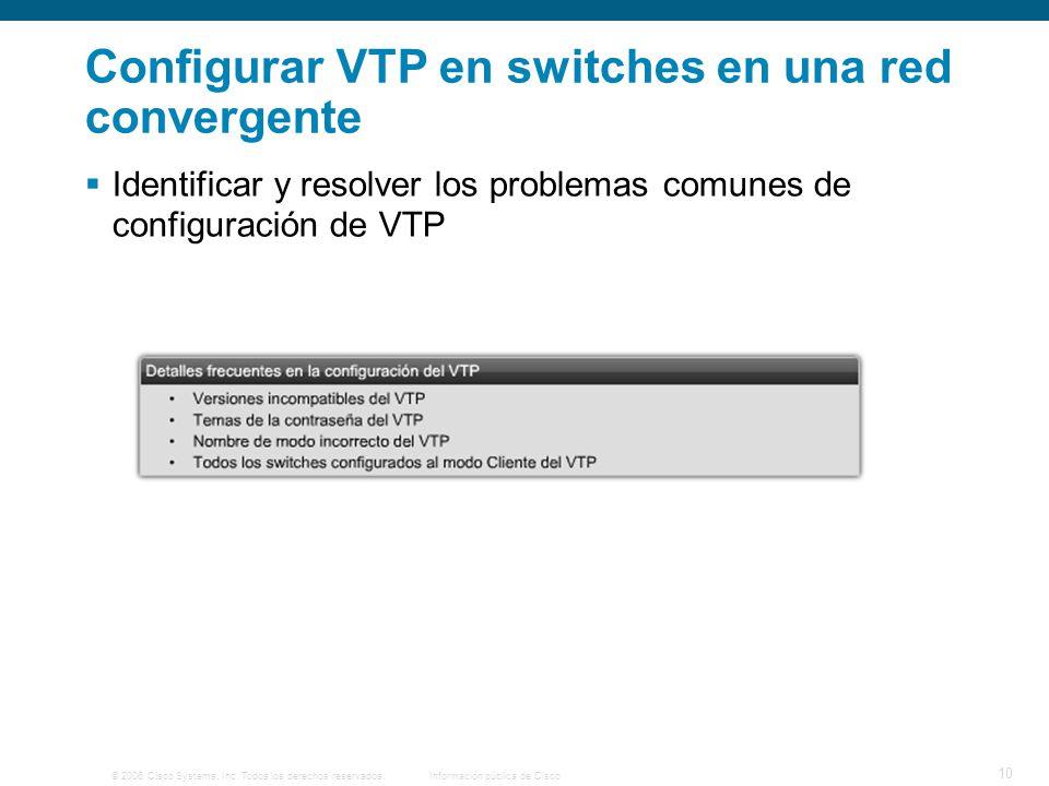 © 2006 Cisco Systems, Inc. Todos los derechos reservados.Información pública de Cisco 10 Configurar VTP en switches en una red convergente Identificar