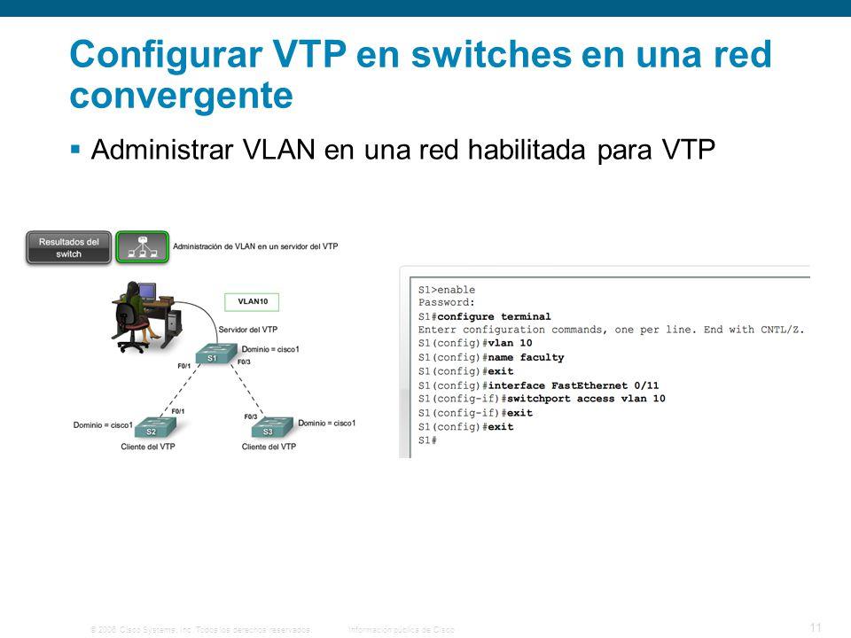 © 2006 Cisco Systems, Inc. Todos los derechos reservados.Información pública de Cisco 11 Configurar VTP en switches en una red convergente Administrar