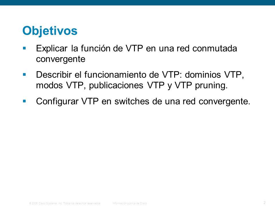 © 2006 Cisco Systems, Inc. Todos los derechos reservados.Información pública de Cisco 2 Objetivos Explicar la función de VTP en una red conmutada conv