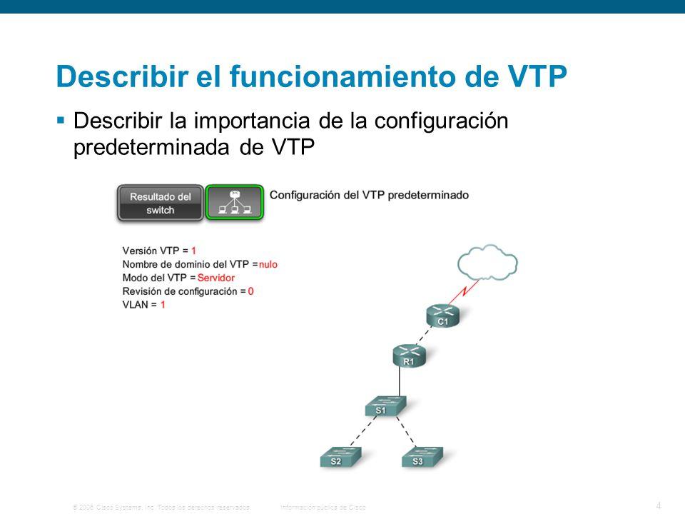 © 2006 Cisco Systems, Inc. Todos los derechos reservados.Información pública de Cisco 4 Describir el funcionamiento de VTP Describir la importancia de