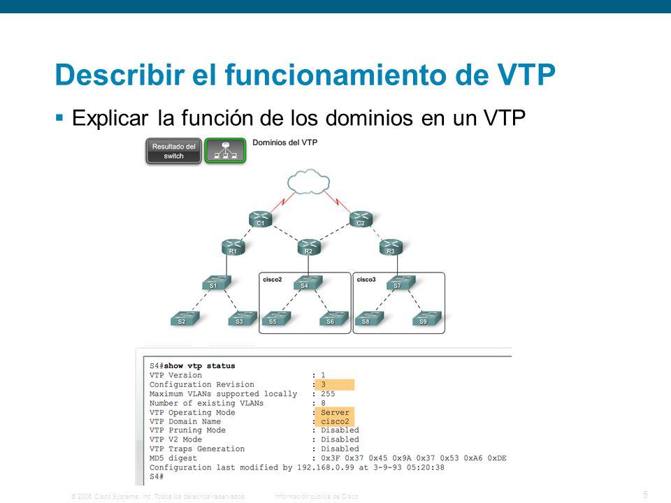 © 2006 Cisco Systems, Inc. Todos los derechos reservados.Información pública de Cisco 5 Describir el funcionamiento de VTP Explicar la función de los