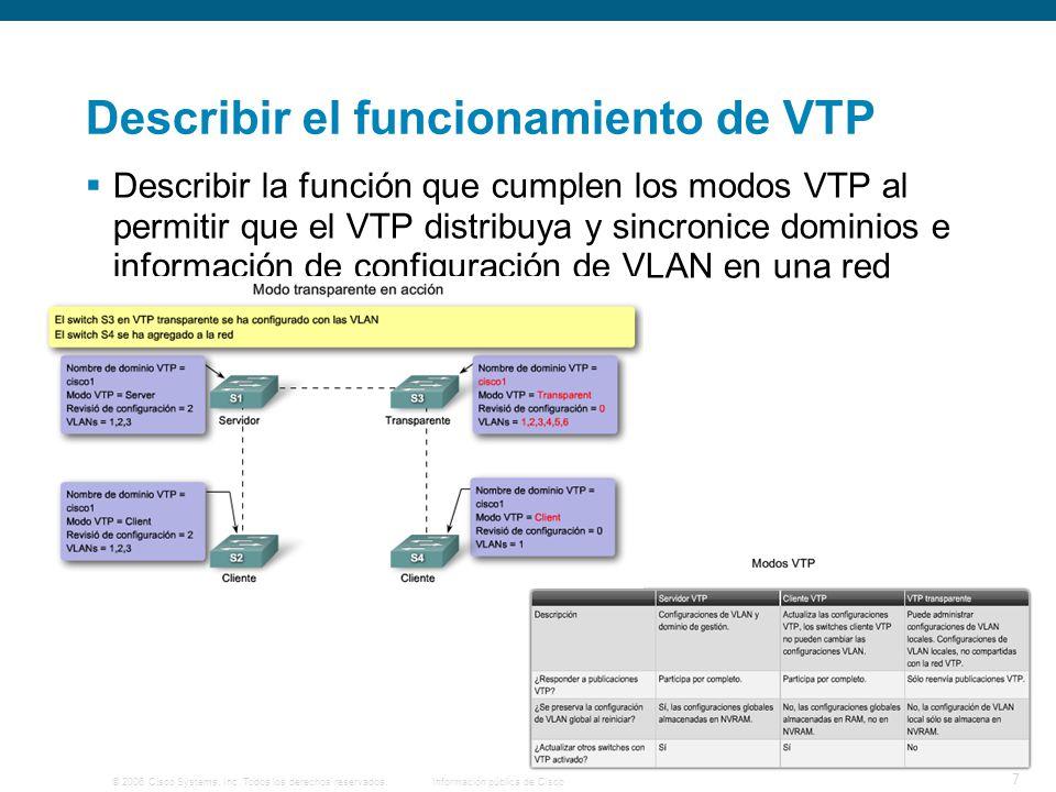 © 2006 Cisco Systems, Inc. Todos los derechos reservados.Información pública de Cisco 7 Describir el funcionamiento de VTP Describir la función que cu