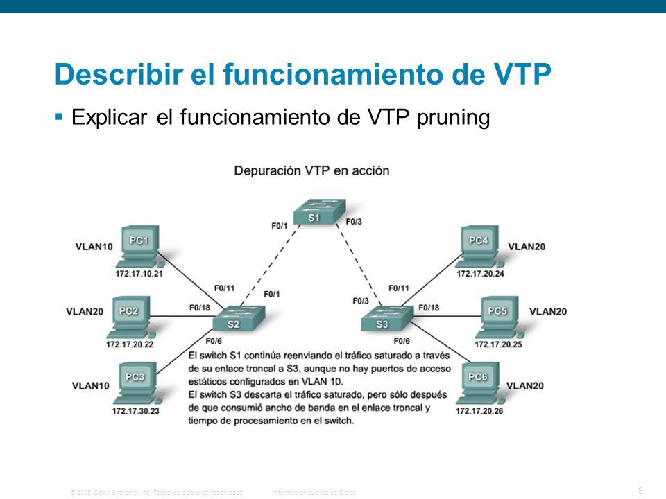 © 2006 Cisco Systems, Inc. Todos los derechos reservados.Información pública de Cisco 8 Describir el funcionamiento de VTP Explicar el funcionamiento