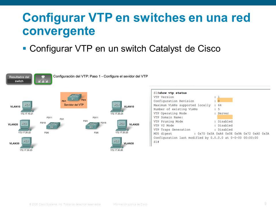 © 2006 Cisco Systems, Inc. Todos los derechos reservados.Información pública de Cisco 9 Configurar VTP en switches en una red convergente Configurar V