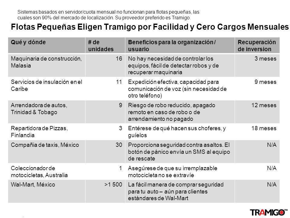 v 1.0 / 4 Sept 2009 Flotas Pequeñas Eligen Tramigo por Facilidad y Cero Cargos Mensuales Sistemas basados en servidor/cuota mensual no funcionan para