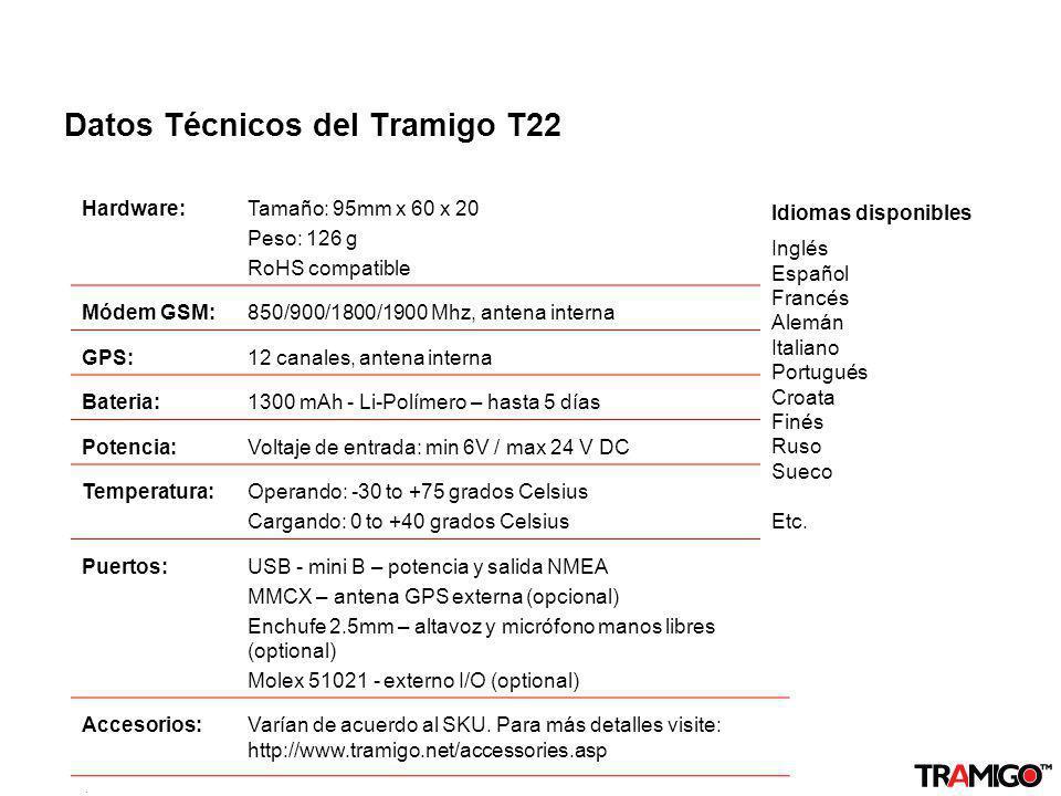 v 1.0 / 4 Sept 2009 Datos Técnicos del Tramigo T22 Hardware:Tamaño: 95mm x 60 x 20 Peso: 126 g RoHS compatible Módem GSM:850/900/1800/1900 Mhz, antena