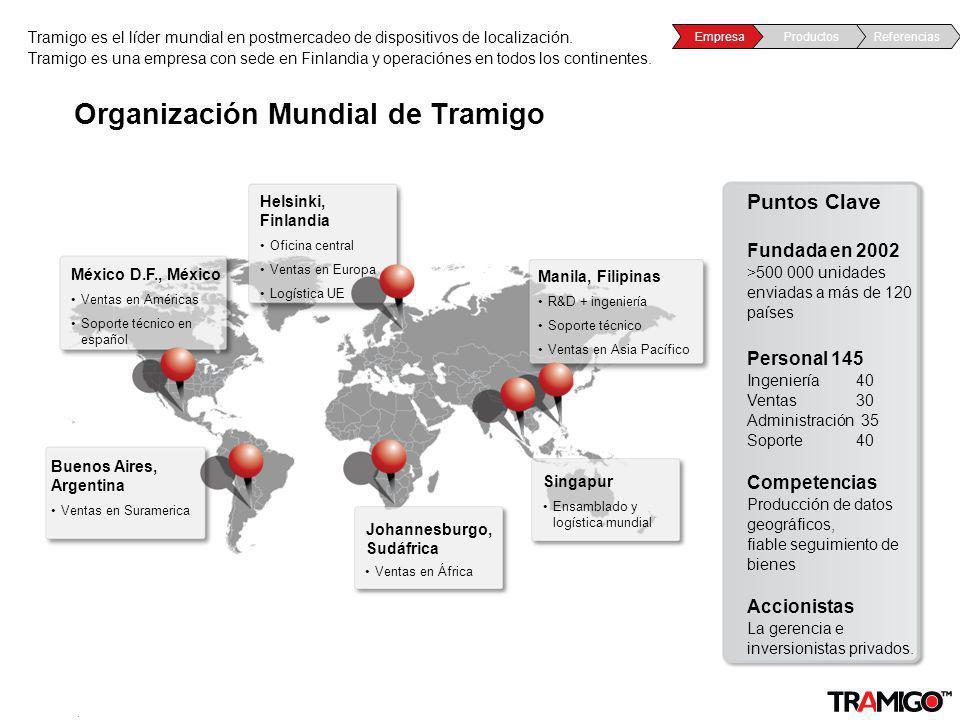v 1.0 / 4 Sept 2009 Organización Mundial de Tramigo Tramigo es el líder mundial en postmercadeo de dispositivos de localización. Tramigo es una empres