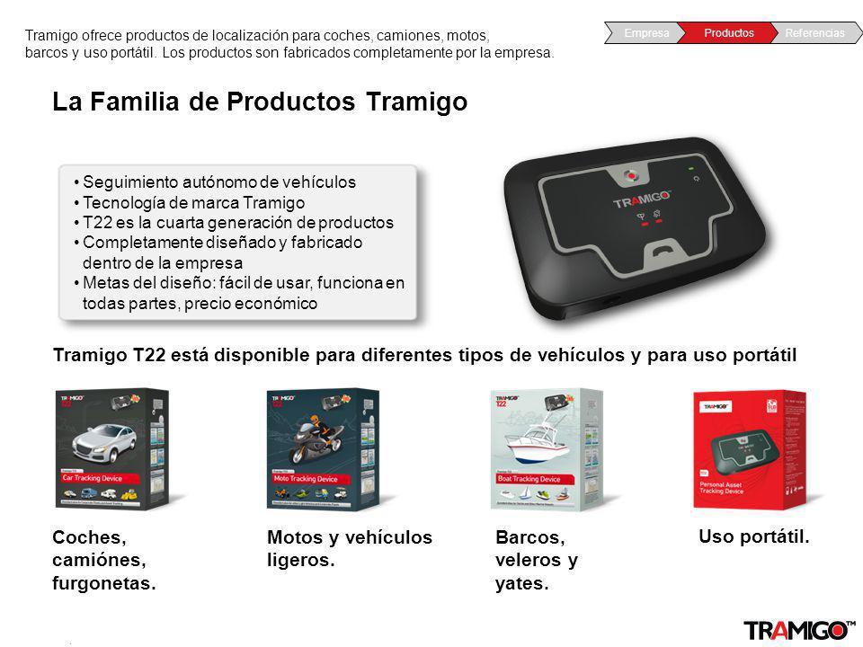 v 1.0 / 4 Sept 2009 La Familia de Productos Tramigo Tramigo ofrece productos de localización para coches, camiones, motos, barcos y uso portátil. Los