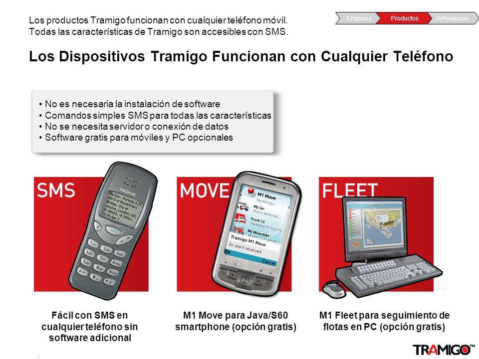 v 1.0 / 4 Sept 2009 Los Dispositivos Tramigo Funcionan con Cualquier Teléfono Los productos Tramigo funcionan con cualquier teléfono móvil. Todas las