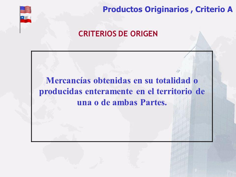 Productos Originarios, Criterio A Mercancías obtenidas en su totalidad o producidas enteramente en el territorio de una o de ambas Partes. CRITERIOS D