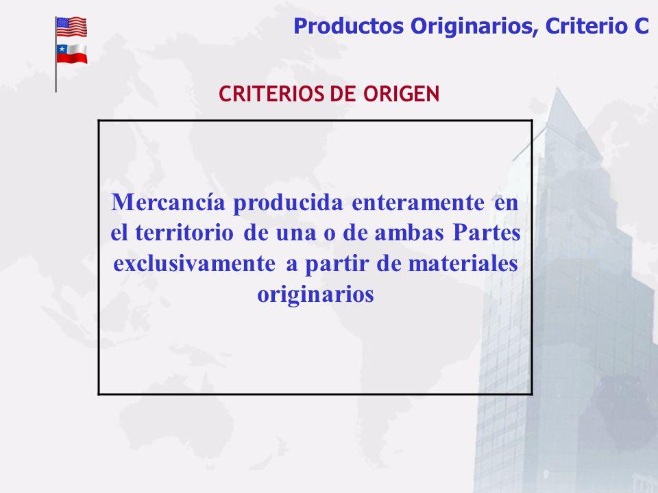 Productos Originarios, Criterio Productos Originarios, Criterio C Mercancía producida enteramente en el territorio de una o de ambas Partes exclusivam