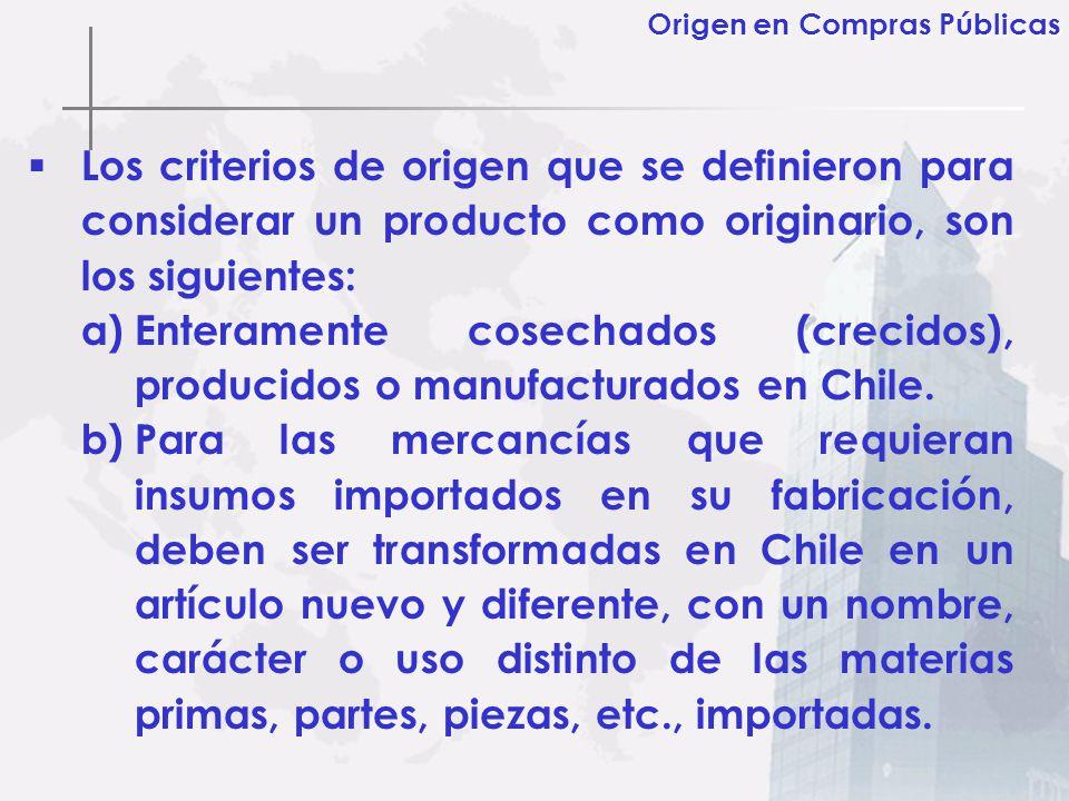 Los criterios de origen que se definieron para considerar un producto como originario, son los siguientes: a)Enteramente cosechados (crecidos), produc