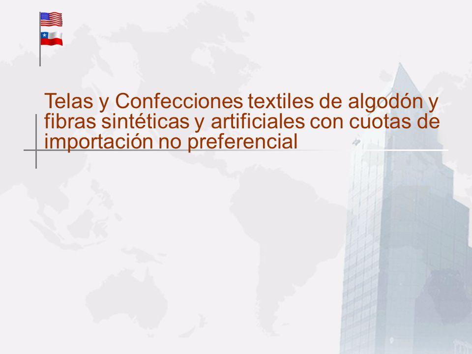 Telas y Confecciones textiles de algodón y fibras sintéticas y artificiales con cuotas de importación no preferencial