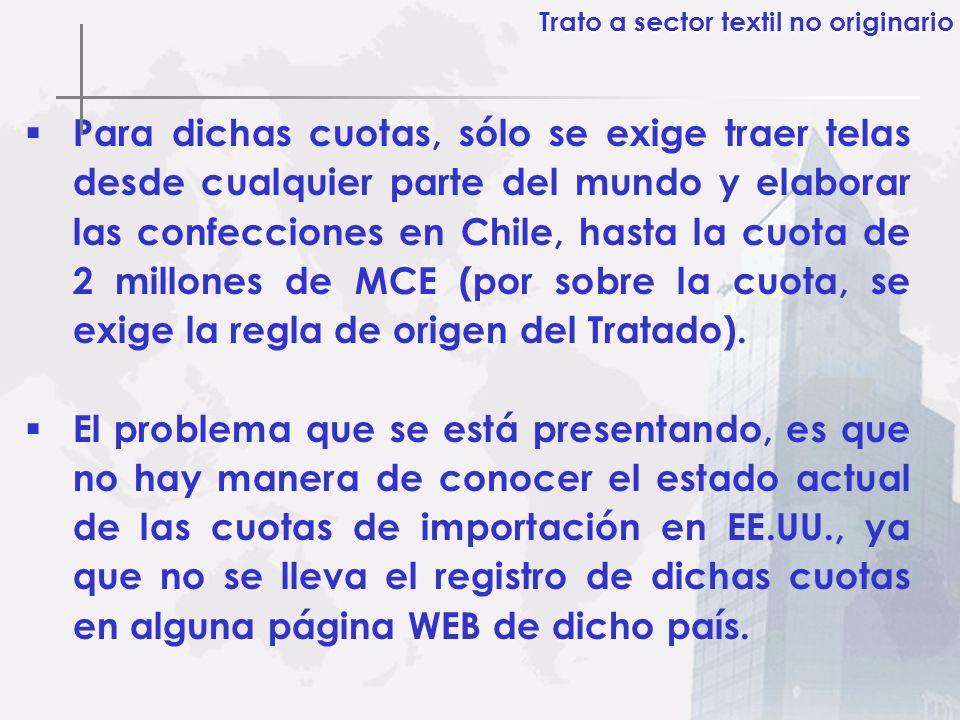 Para dichas cuotas, sólo se exige traer telas desde cualquier parte del mundo y elaborar las confecciones en Chile, hasta la cuota de 2 millones de MC