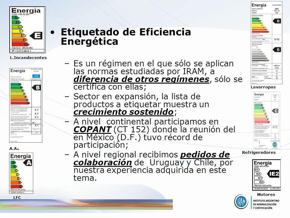 Etiquetado de Eficiencia Energética –Es un régimen en el que sólo se aplican las normas estudiadas por IRAM, a diferencia de otros regímenes, sólo se