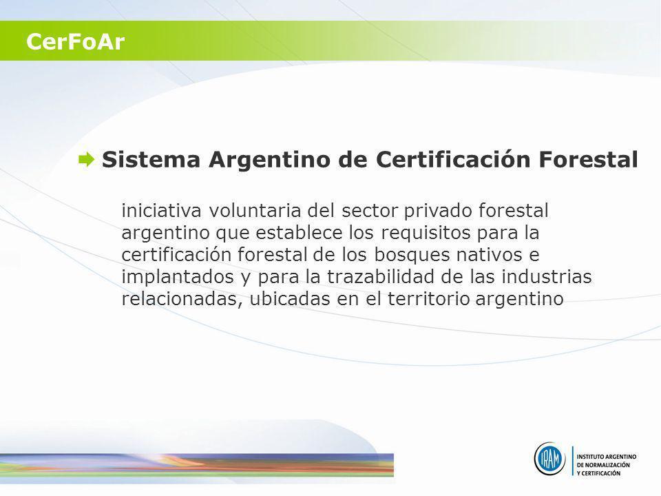 Sistema Argentino de Certificación Forestal CerFoAr iniciativa voluntaria del sector privado forestal argentino que establece los requisitos para la c