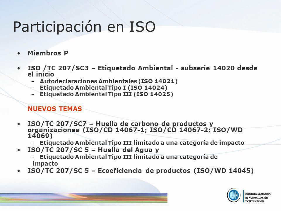 Participación en ISO Miembros P ISO /TC 207/SC3 – Etiquetado Ambiental - subserie 14020 desde el inicio –Autodeclaraciones Ambientales (ISO 14021) –Et