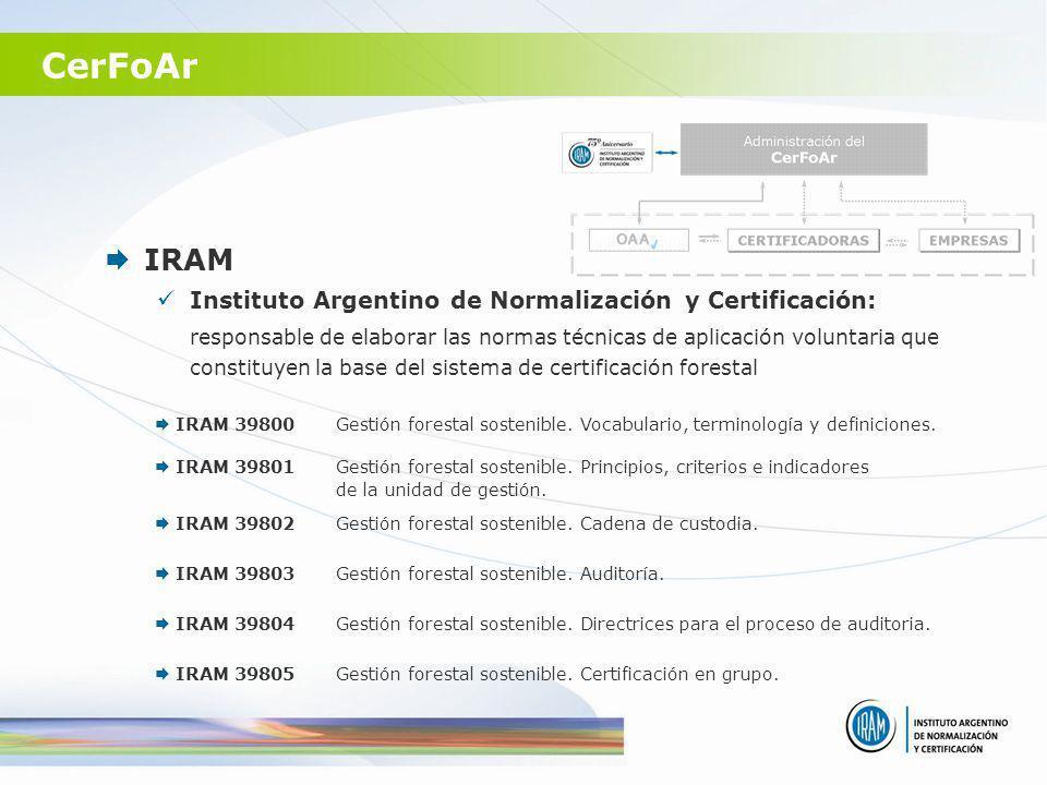 CerFoAr IRAM Instituto Argentino de Normalización y Certificación: responsable de elaborar las normas técnicas de aplicación voluntaria que constituye