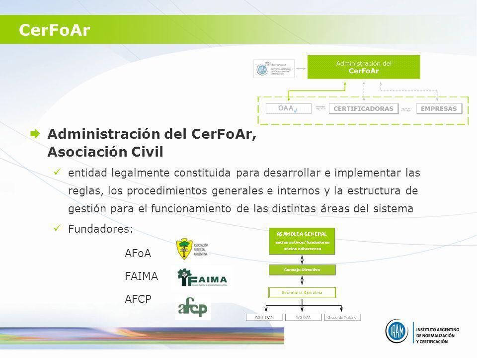CerFoAr Administración del CerFoAr, Asociación Civil entidad legalmente constituida para desarrollar e implementar las reglas, los procedimientos gene
