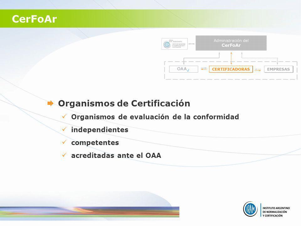 CerFoAr Organismos de Certificación Organismos de evaluación de la conformidad independientes competentes acreditadas ante el OAA