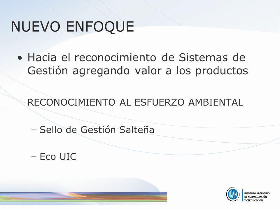 NUEVO ENFOQUE Hacia el reconocimiento de Sistemas de Gestión agregando valor a los productos RECONOCIMIENTO AL ESFUERZO AMBIENTAL –Sello de Gestión Sa