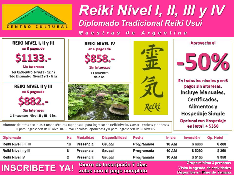 Reiki Nivel I, II, III y IV DiplomadoHsModalidadDisponibilidadFechaInicioInversión Op. Hotel Reiki Nivel I, II, III 18PresencialGrupalProgramada 10 AM