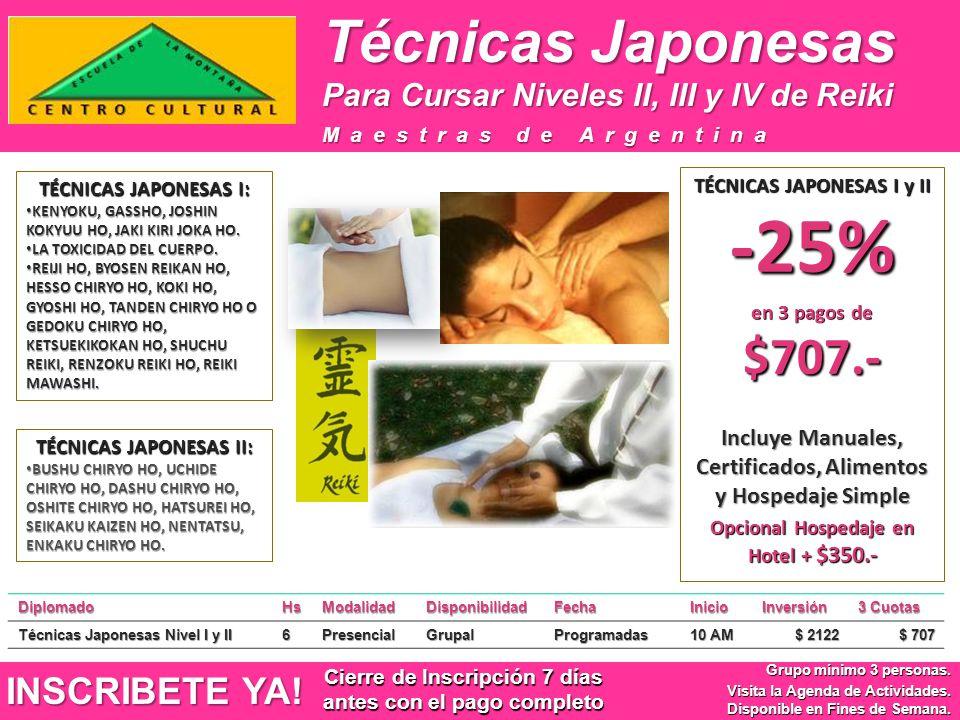 Técnicas Japonesas INSCRIBETE YA! Grupo mínimo 3 personas. Visita la Agenda de Actividades. Disponible en Fines de Semana. Maestras de Argentina Para