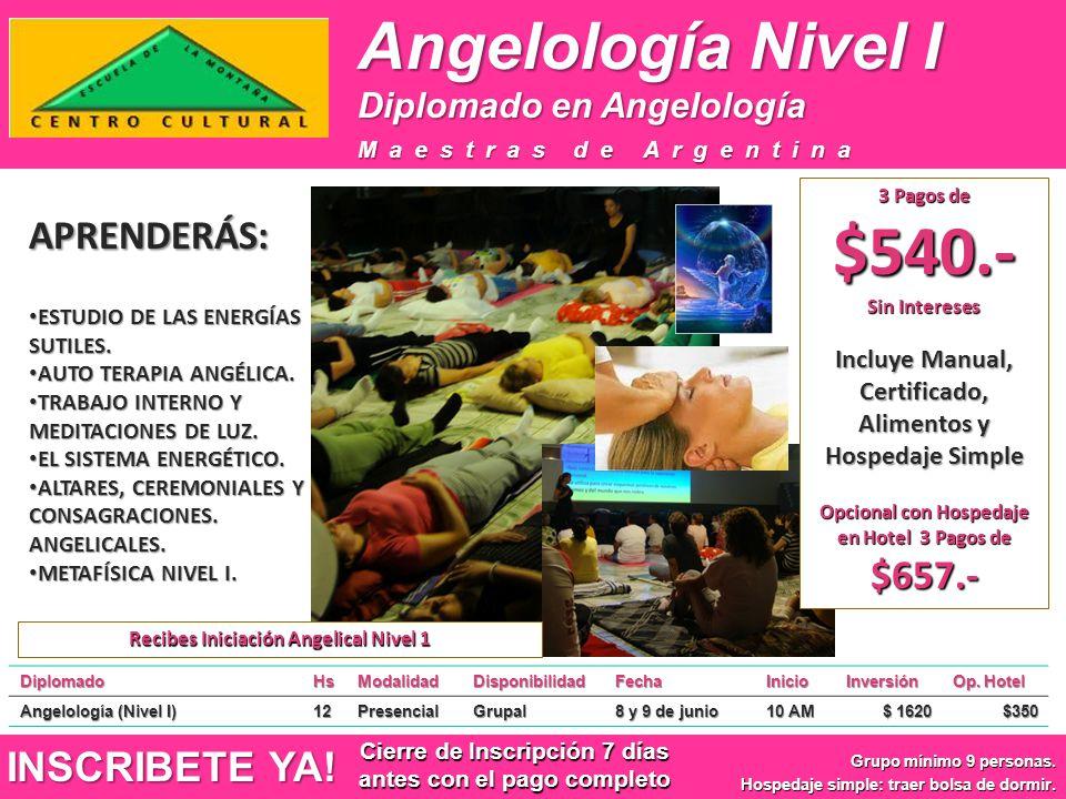 Angelología Nivel I DiplomadoHsModalidadDisponibilidadFechaInicioInversión Op. Hotel Angelología (Nivel I) 12PresencialGrupal 8 y 9 de junio 10 AM $ 1