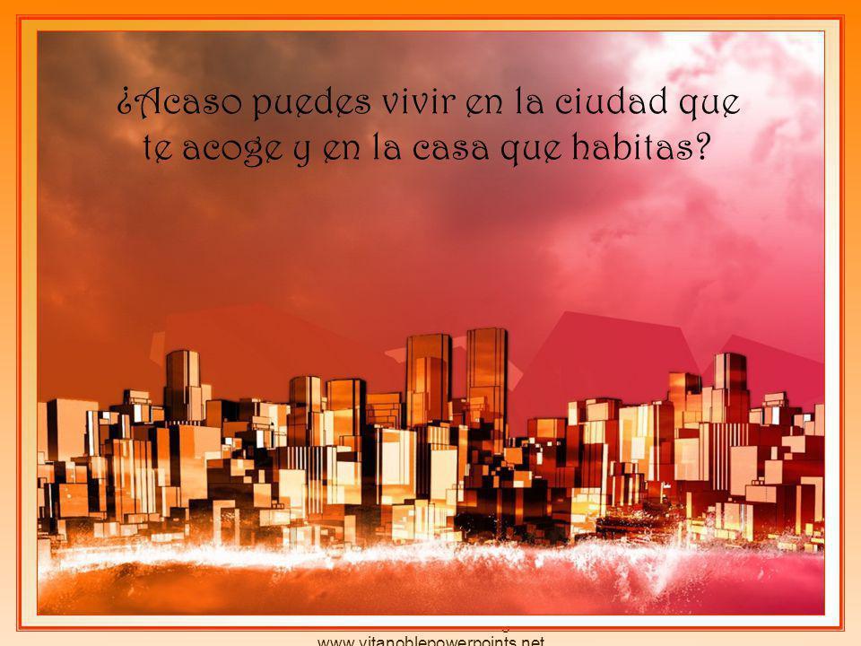 Derechos reservados por el autor Pedro Martínez Borrego www.vitanoblepowerpoints.net ¿Acaso puedes vivir en la ciudad que te acoge y en la casa que habitas?
