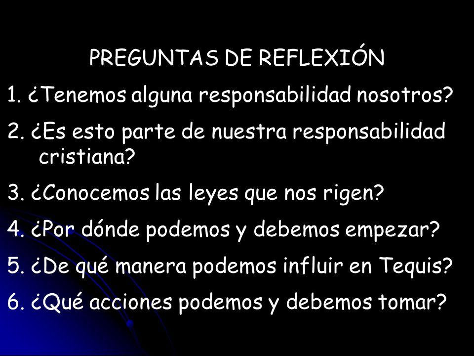 PREGUNTAS DE REFLEXIÓN 1. ¿Tenemos alguna responsabilidad nosotros? 2. ¿Es esto parte de nuestra responsabilidad cristiana? 3. ¿Conocemos las leyes qu