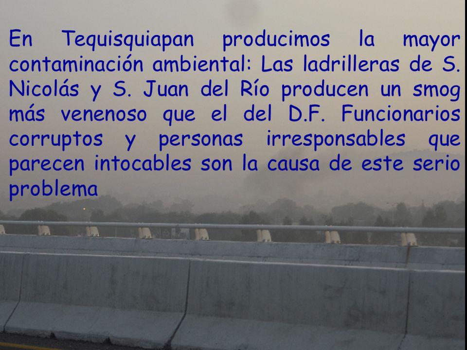 En Tequisquiapan producimos la mayor contaminación ambiental: Las ladrilleras de S. Nicolás y S. Juan del Río producen un smog más venenoso que el del