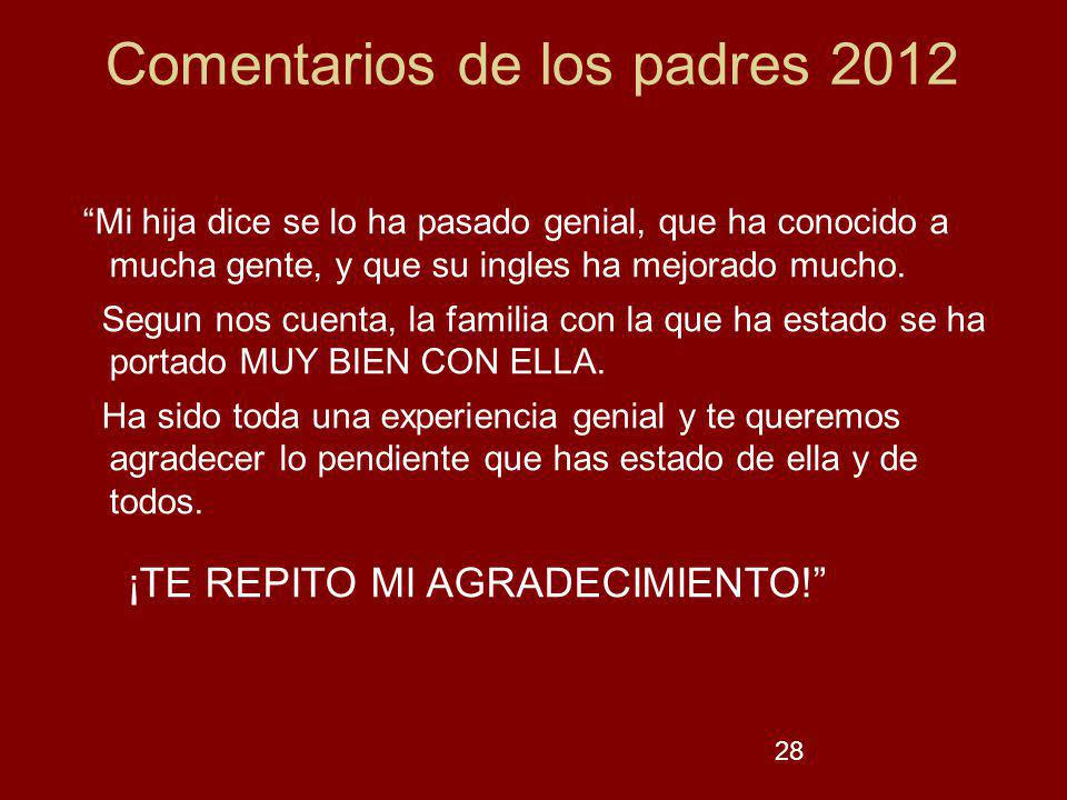 28 Comentarios de los padres 2012.