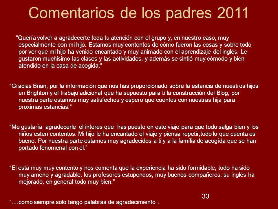 33 Comentarios de los padres 2011 Quería volver a agradecerte toda tu atención con el grupo y, en nuestro caso, muy especialmente con mi hijo. Estamos