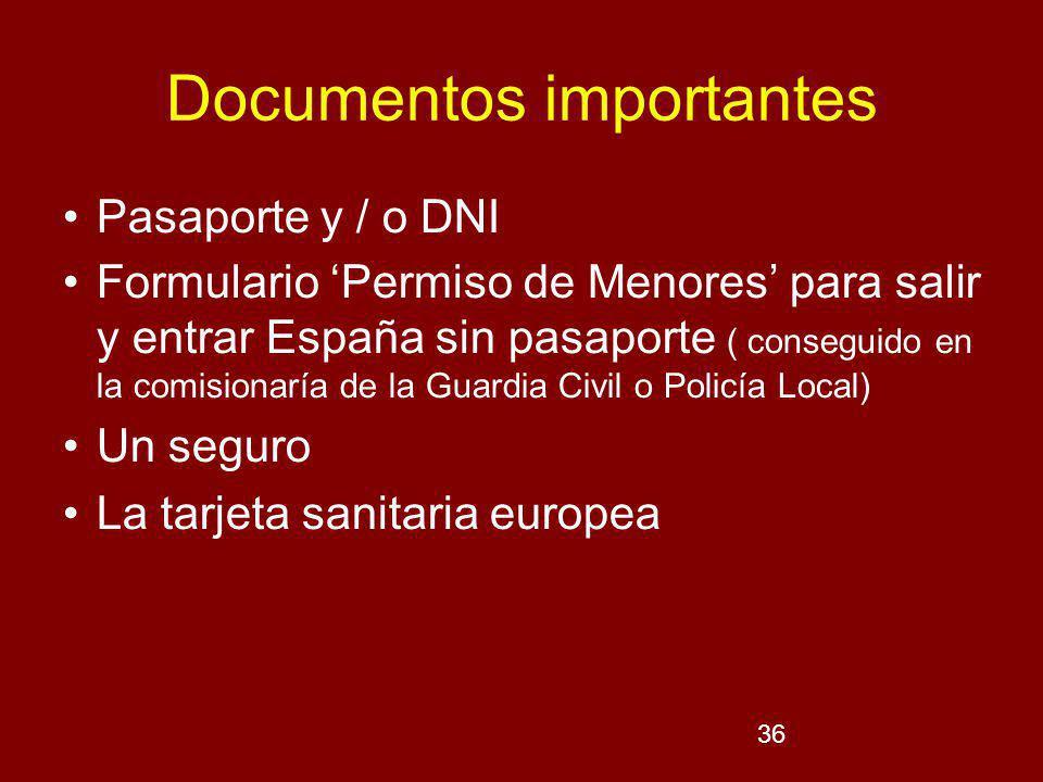 36 Documentos importantes Pasaporte y / o DNI Formulario Permiso de Menores para salir y entrar España sin pasaporte ( conseguido en la comisionaría de la Guardia Civil o Policía Local) Un seguro La tarjeta sanitaria europea