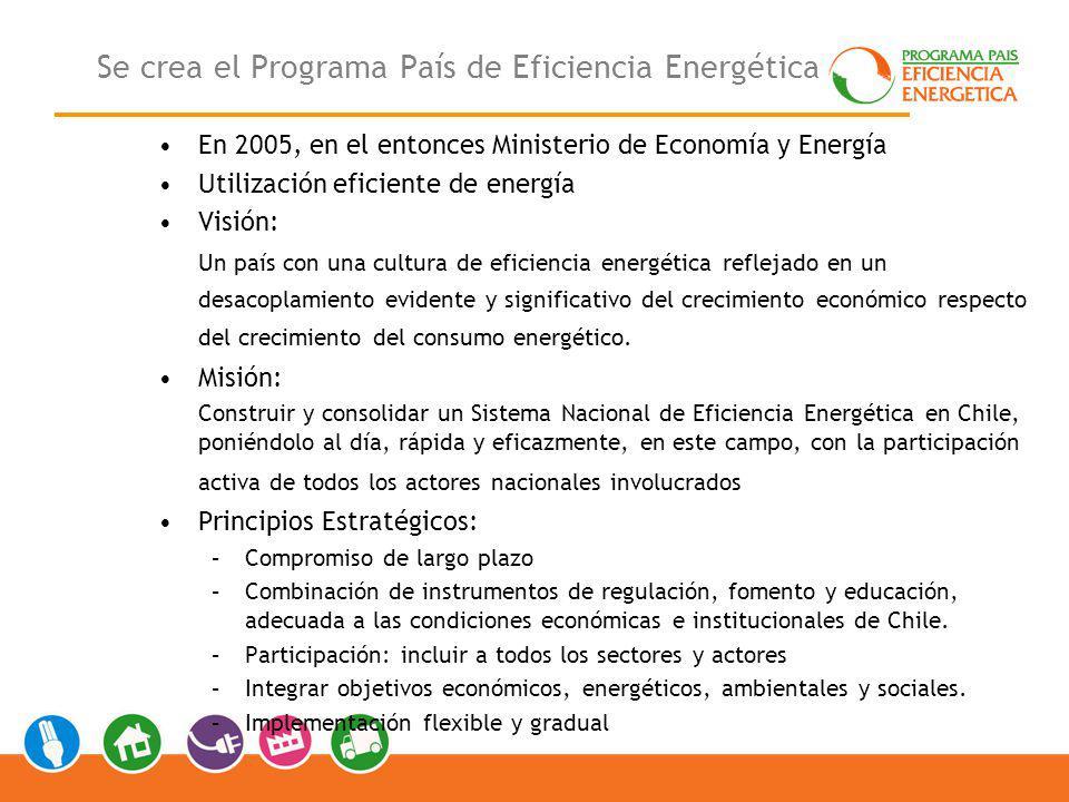 Se crea el Programa País de Eficiencia Energética En 2005, en el entonces Ministerio de Economía y Energía Utilización eficiente de energía Visión: Un país con una cultura de eficiencia energética reflejado en un desacoplamiento evidente y significativo del crecimiento económico respecto del crecimiento del consumo energético.