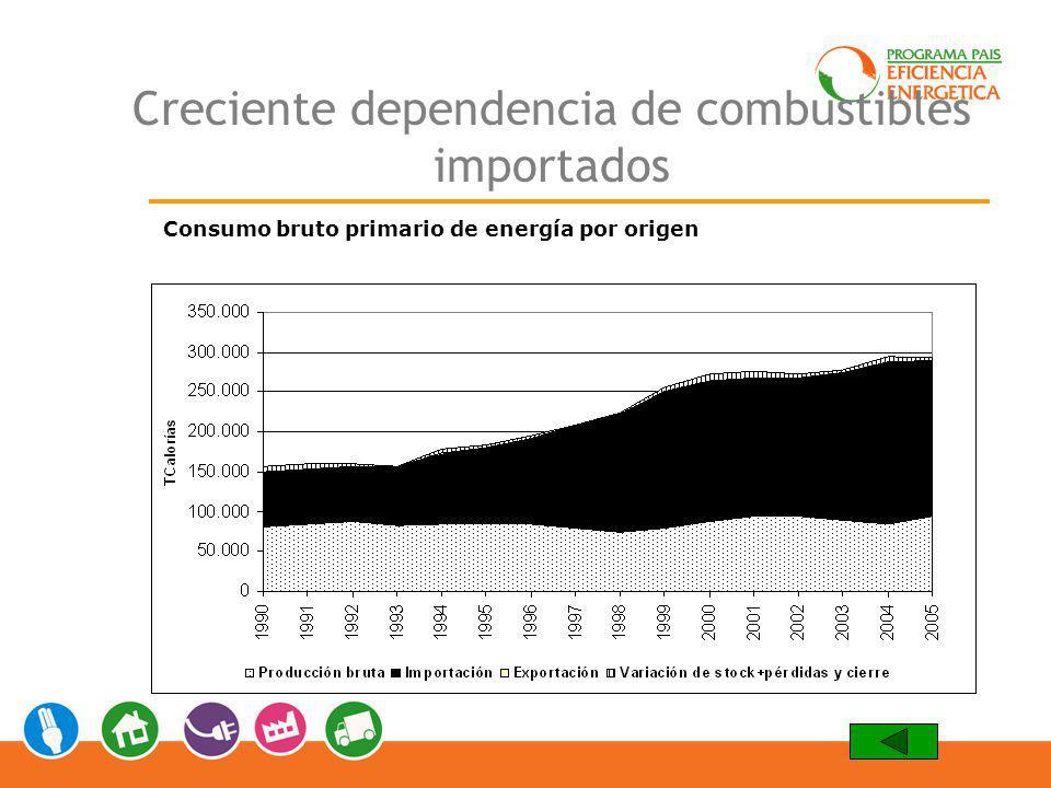 Creciente dependencia de combustibles importados Consumo bruto primario de energía por origen