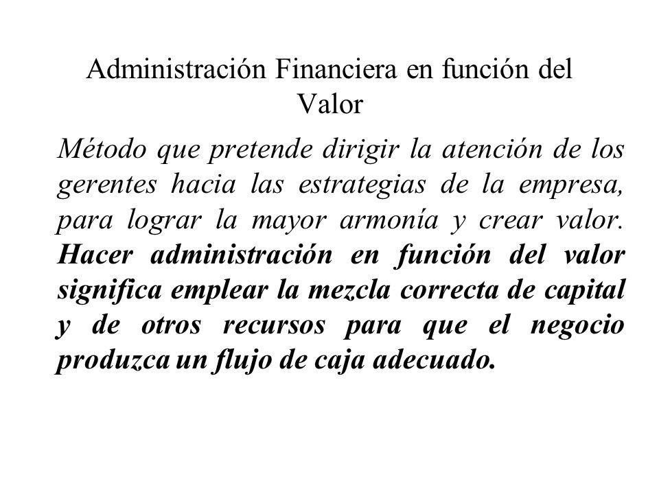 Administración Financiera en función del Valor Método que pretende dirigir la atención de los gerentes hacia las estrategias de la empresa, para logra