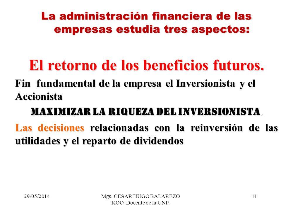 29/05/2014Mgs. CESAR HUGO BALAREZO KOO Docente de la UNP. 11 La administración financiera de las empresas estudia tres aspectos: El retorno de los ben