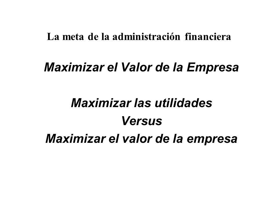 La meta de la administración financiera Maximizar el Valor de la Empresa Maximizar las utilidades Versus Maximizar el valor de la empresa