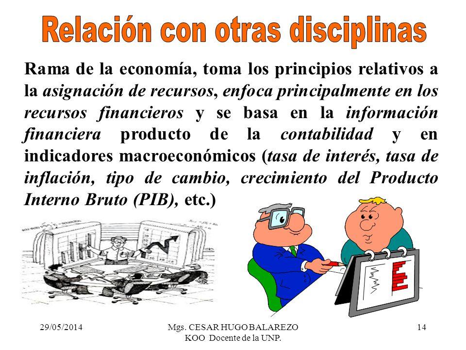 29/05/2014Mgs. CESAR HUGO BALAREZO KOO Docente de la UNP. 14 Rama de la economía, toma los principios relativos a la asignación de recursos, enfoca pr