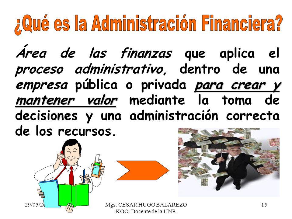 29/05/2014Mgs. CESAR HUGO BALAREZO KOO Docente de la UNP. 15 para crear y mantener valor Área de las finanzas que aplica el proceso administrativo, de