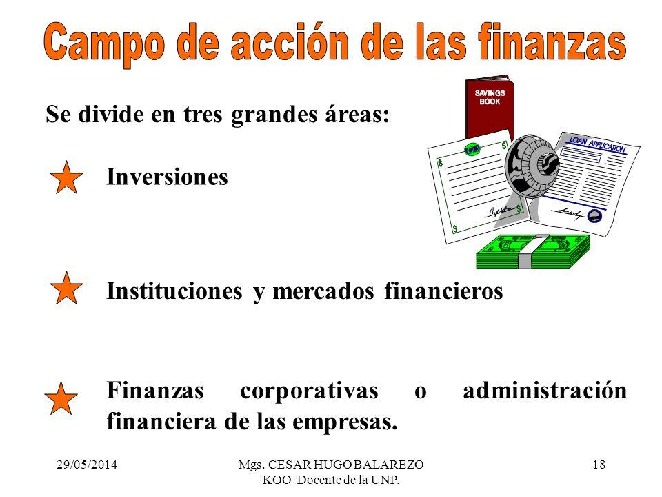 29/05/2014Mgs. CESAR HUGO BALAREZO KOO Docente de la UNP. 18 Se divide en tres grandes áreas: Inversiones Instituciones y mercados financieros Finanza