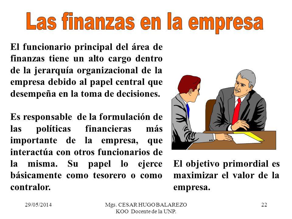 29/05/2014Mgs. CESAR HUGO BALAREZO KOO Docente de la UNP. 22 El funcionario principal del área de finanzas tiene un alto cargo dentro de la jerarquía