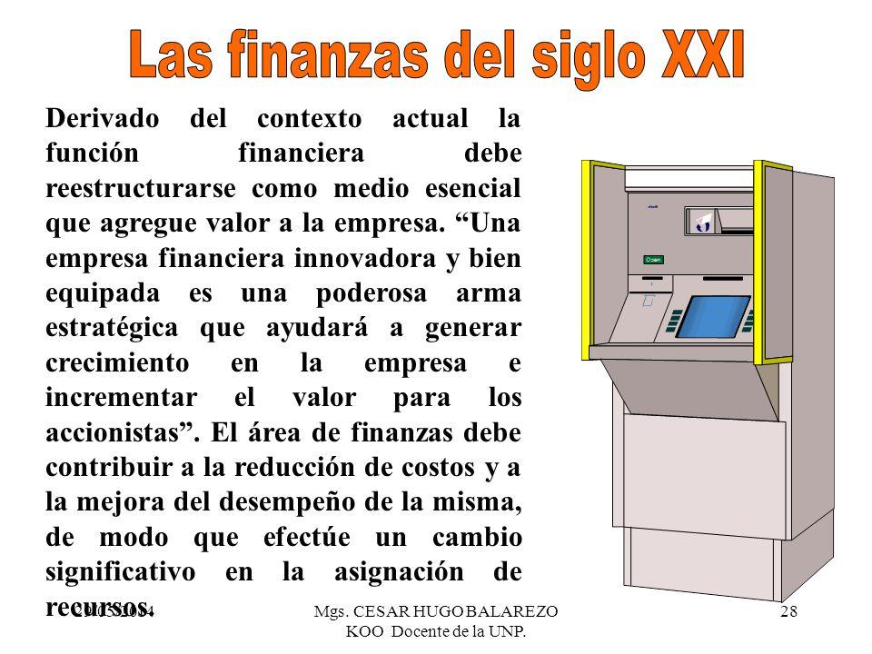 29/05/2014Mgs. CESAR HUGO BALAREZO KOO Docente de la UNP. 28 Una empresa financiera innovadora y bien equipada es una poderosa arma estratégica que ay