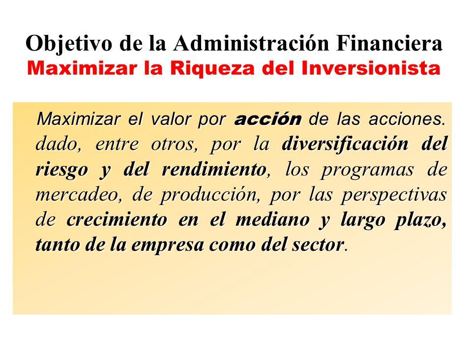 Objetivo de la Administración Financiera Maximizar la Riqueza del Inversionista Maximizar el valor por acción de las acciones. dado, entre otros, por