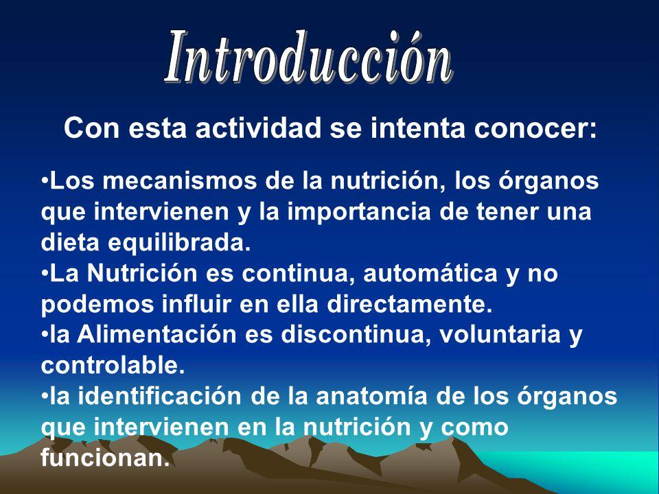 Con esta actividad se intenta conocer: Los mecanismos de la nutrición, los órganos que intervienen y la importancia de tener una dieta equilibrada.