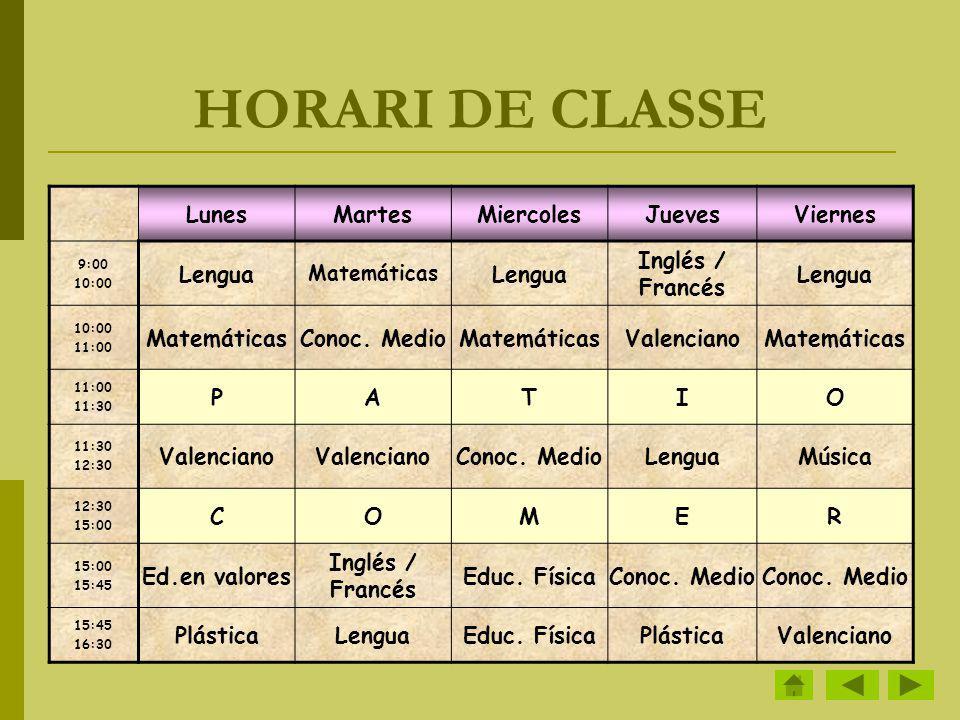 HORARI DE CLASSE LunesMartesMiercolesJuevesViernes 9:00 10:00 Lengua Matemáticas Lengua Inglés / Francés Lengua 10:00 11:00 MatemáticasConoc. MedioMat