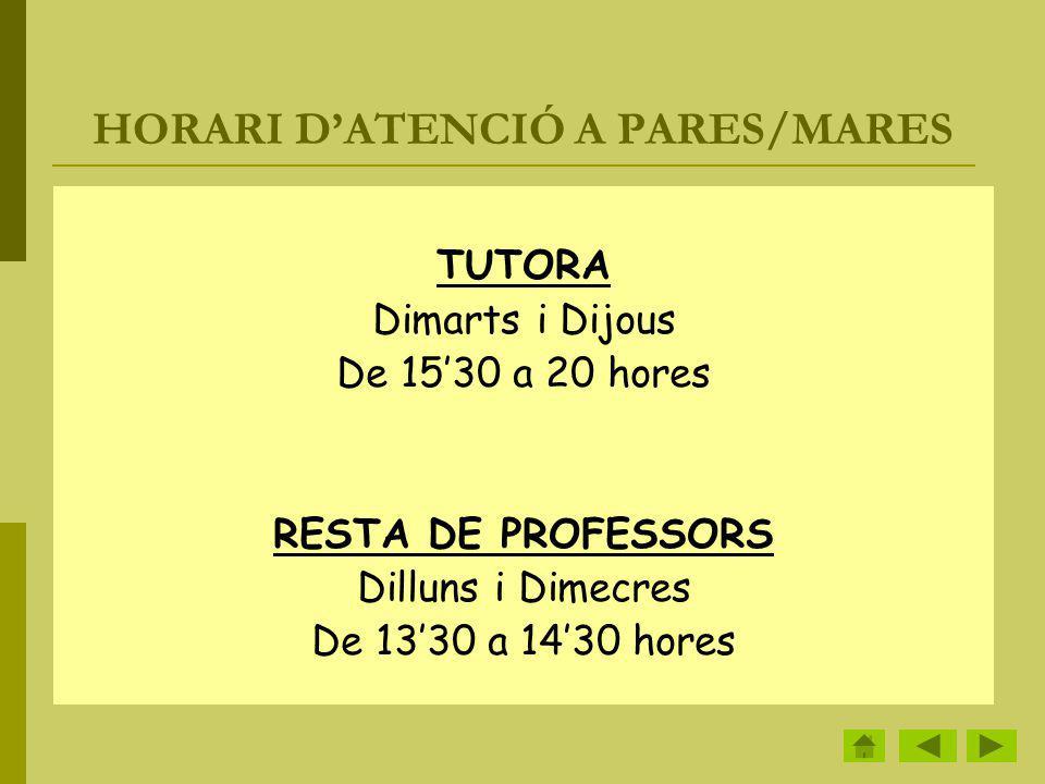 HORARI DATENCIÓ A PARES/MARES TUTORA Dimarts i Dijous De 1530 a 20 hores RESTA DE PROFESSORS Dilluns i Dimecres De 1330 a 1430 hores