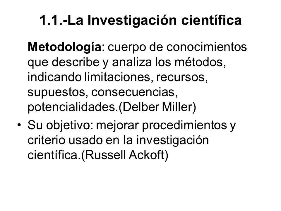 1.1.-La Investigación científica Metodología: cuerpo de conocimientos que describe y analiza los métodos, indicando limitaciones, recursos, supuestos,