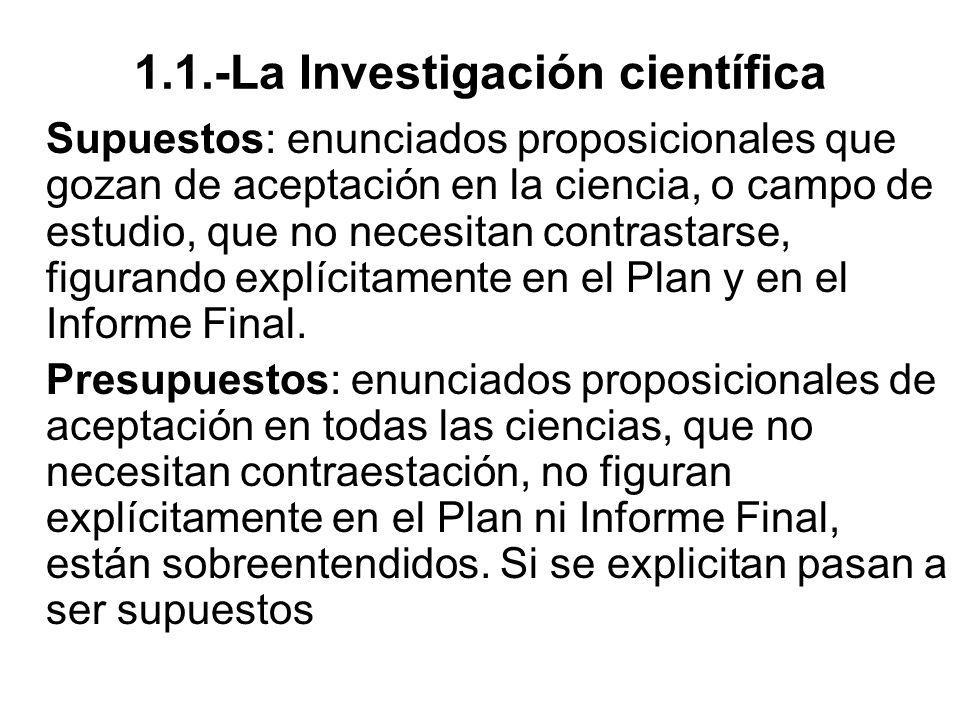 1.1.-La Investigación científica Supuestos: enunciados proposicionales que gozan de aceptación en la ciencia, o campo de estudio, que no necesitan con
